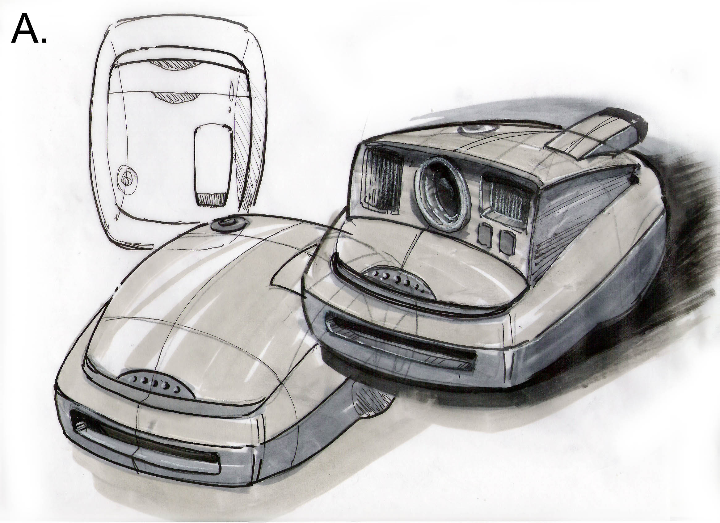 Polaroid instant camera, sketch -A.