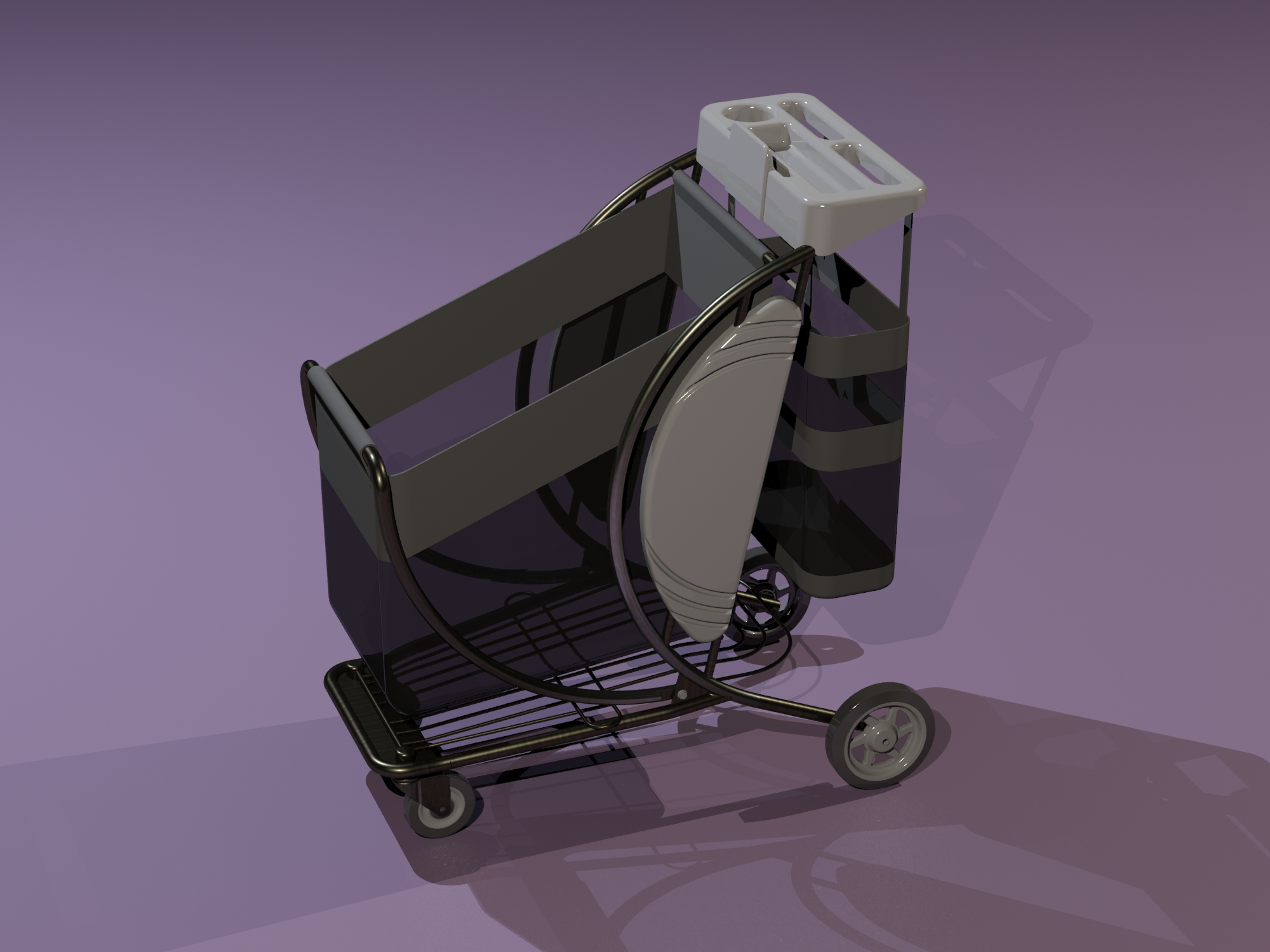 Folding frame of mesh bag cart.